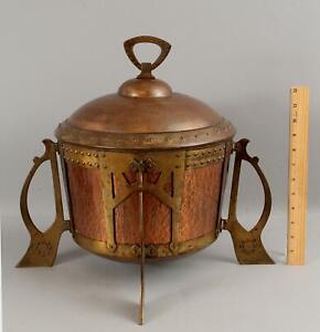 Large Antique WMF Jugendstil Hammered Copper & Brass Arts & Crafts Secessionist
