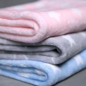 Super Soft Baby Stars Blanket Flannel Fleece Newborn Pram Cot Girl & Boy 60x90cm