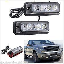 2 Pcs 12V Amber&Yellow Car 4LED Emergency Beacon Strobe Flash Lights Bar For BMW
