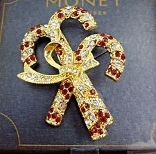 New Monet Christmas Crystal Candy Cane Pin / Brooch with Bow - Gold Tone