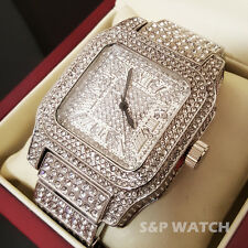 Men Rick Ross White Gold Full Iced Out Bling Hip Hop Lab Simulated Diamond Watch