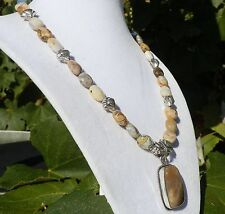 "18""  Handmade Brown White Bamboo Agate Necklace with Matching Pendant"