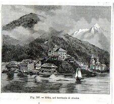 Stampa antica Veduta di SITKA Alaska USA 1889 Old print Engraving