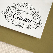 Personalized Custom Name Handle Mounted Handmade Created by Rubber Stamp R519