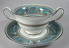 Wedgwood Florentine Turquoise, Cream Soup & stand - W2714 Black Backstamp