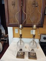 "Vintage Pair Crystal Table Lamps Bronze Finish 32"" Height Unique"