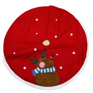48 In Reindeer  Red Christmas Tree Skirt
