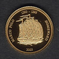 Mongolia. 2003 Gold 50 Tugrik.. Marco Polo..  1.224gms  .9999 gold.. Proof