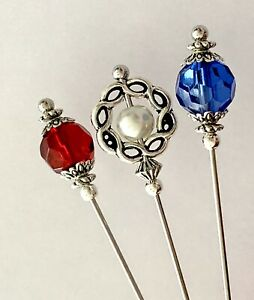 3 X Hat Pins Vintage Antique Silver Style 3 inch Long Hat Pin & Protector**