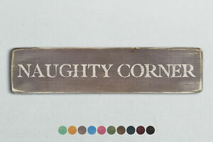 NAUGHTY CORNER Vintage Style Wooden Sign. Shabby Chic Retro Home Gift