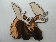 Moose Head Embroidered Iron On Patch Applique