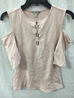 GUESS COLD SHOULDER ELBOW SLEEVE LACED NECK TOP BLUSH S- NEW WITHOUT TAG  4662