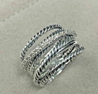 Crossover Wide Cable Pave Diamond Ring 925 Sterling Silver Ring