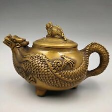 Chinese Antique Brass dragon turtle teapot Home decorations Qianlong Year