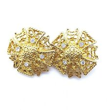 Vtg KJL Maltese Cross Clip Earrings Rhinestone Kenneth Jay Lane Gold Book Piece