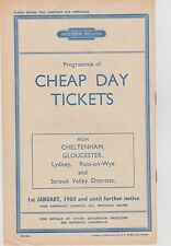 British Railways pamphlet/handbill cheap day tickets Cotswold area1960