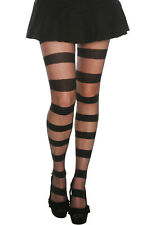 HOT TOPIC FASHION BLACK OPAQUE SHEER STRIPE FOOTED PANTYHOSE TIGHTS IN ML SIZE