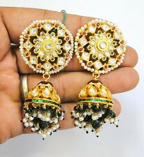 Vintage antique Solid 20K Gold jewelry Diamond polki Ruby Emerald Earring pair