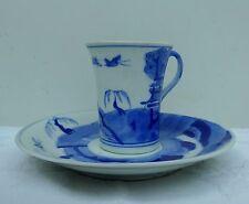 Antico Cinese Tazza Di Caffè & Piattino dipinto a mano firmato Blu Salice bianco può
