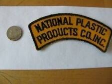 NATIONAL PLASTIC PRODUCTS PATCH STURBRIDGE MA MASS EMBROIDERED NOS FREE SHIPPING