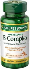 Nature's Bounty B-Complex With Folic Acid Plus Vitamin C Tablets 125 ea (2 pack)