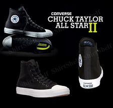 Converse The Chuck Taylor All Star II Black Canvas Hi Top Sz 8 Shoes 150143C New
