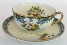 "Vintage Noritake ""M"" Tea Cup & Saucer Set Floral Design Made in Japan Hand Paint"