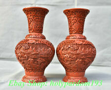 """10"""" Marked Chinese Red lacquerware Carving Mountain Water Pavilion Vase Pair"""