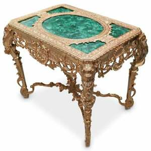 Table, Malachite and Gilt Green,  Imperial Style, Acanthus Leaf. Very Ornate!
