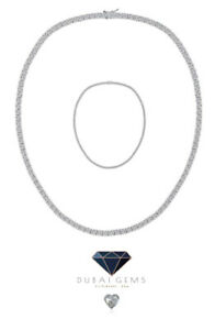 White gold finish Classic created diamond Tennis 2mm necklace Gift Box and bag