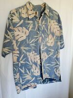 Vintage Tori Richard Hawaiian Shirt Men's 2XL Classic Blue Leaf Pattern USA