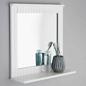 MAINE White  Bathroom Mirror Wood Frame Mirror Wall Mounted With Cosmetics Shelf