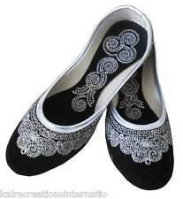 Women Shoes Indian Handmade Leather Traditional Ballerinas Black Jutties US 5-10