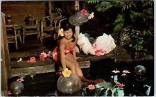 HAWAII 1968   Postcard of BEAUTIFUL HAWAIIAN MAIDEN & Koi Pond