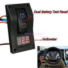 DC12V Car LED Digital Voltmeter Dual Battery Test Panel Rocker Switch ON-OFF-ON