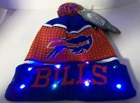 Buffalo Bills Football NFL LED Light Up Hat Winter Pom Beanie Knit Christmas Cap