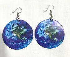Planet Earth Leathery Large Earrings. Blue/ Green colour.  UK.