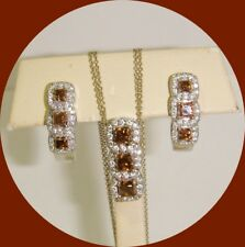 Elegant 14kt White Gold Chocolate & White Diamond Necklace and Earring Set