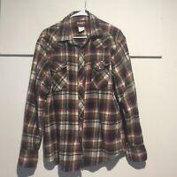 Wrangler Western Shirts Men's Flannel Western Shirt XL Pearl Snaps Plaid
