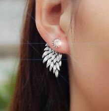 Angel Wings Feather Silver Plated Rhinestone Earrings