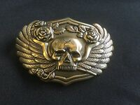 SKULL AND ROSES BRASS PLATED BIKER BELT BUCKLE BY MASSIMO.