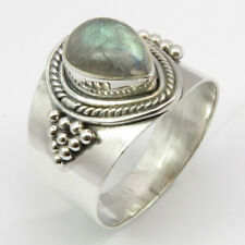 925 Solid Sterling Silver Blue LABRADORITE Oxidized Ring # 8 Gift Art Jewelry
