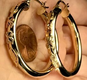 GOLD hoop earring 14K Real Yellow White Rose Tri Clover flower 7.7g 5mm 40mm