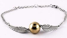 Harry potter Golden Snitch ball Bracelet, Silver Double angel wings bracelets