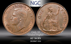1938 Great Britain One Penny NGC AU58 BN Toned Coin In High Grade