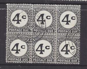 BRITISH HONDURAS, POSTAGE DUE, 1923 ordinary paper, 4c. Black, block of 6, used.