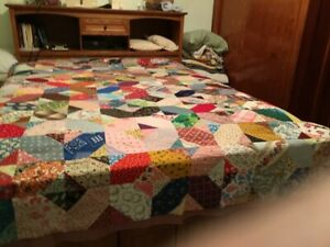 """antique vintage quilt top 96"""" X 76"""" machine pieced many feed sacks Path to peace"""