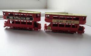2X HONG KONG MADE NEWS OF THE WORLD & TYPHOO TEA LONDON TRANSPORT TRAM MODELS