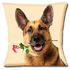 perro de pastor alemán Funda de cojín 16x16 40cm Marrón Negro Con Rosas Flor