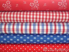 Patchwork-Paket ♥ 5 x Stoffe 25x148 Baumwolle Karo blau rot Karo Blumen